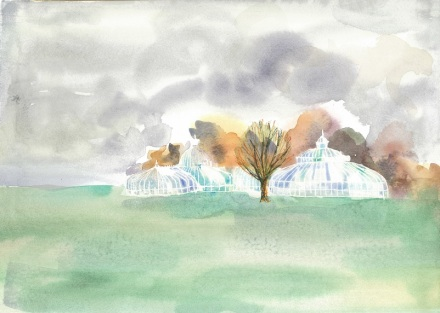 Watercolour of the Kibble Palace in the Botanic Gardens in Glasgow