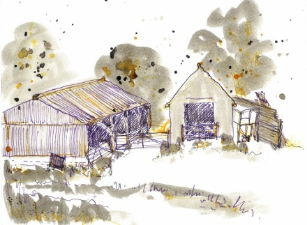 ink drawing of farm outbuildings