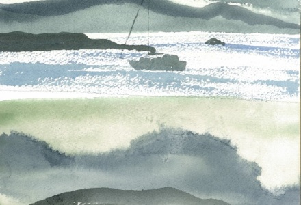 Watercolour of a boat against a mountain backdrop
